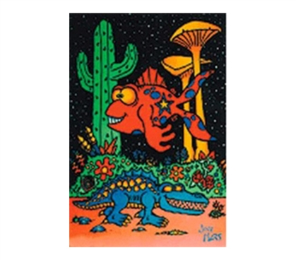 Shop For College - Fish And Gator Blacklight Poster - Decor For Dorms