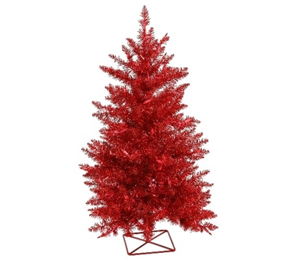 "2'x23"" Red Tree with Mini Lights Holiday Dorm Room Decorations"