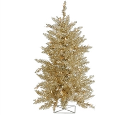 "Holiday Dorm Room Decorations 2'x23"" Champagne Tree with Mini Lights"