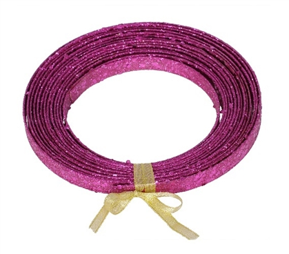 Holiday Dorm Room Decor 23' Magenta Glitter Ribbon