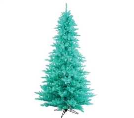 "Holiday Dorm Room Decorations 3'x25"" Aqua Fir Tree with Aqua Mini Dorm Lights on Aqua Wire"