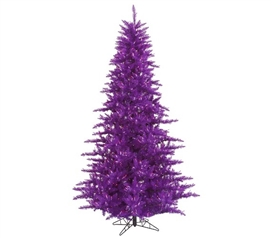 "Holiday Dorm Room Decorations 3'x25"" Purple Fir Tree with Purple Mini Lights on Purple Wire"