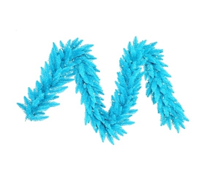 "Holiday Dorm Room Decorations 9'x14"" Sky Blue Garland with Sky Blue Mini Lights on Sky Blue Wire"
