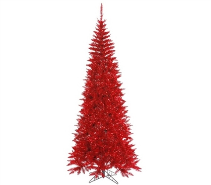 "Holiday Dorm Room Decorations 4.5'x24"" Tinsel Red Slim Fir Christmas Tree"