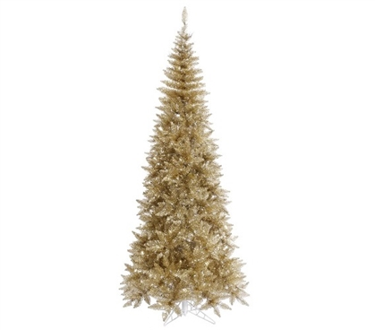 "Holiday Dorm Room Decorations 4.5'x24"" Tinsel Champagne Slim Fir Tree"