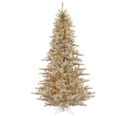 "Holiday Dorm Room Decorations 3'x25"" Champagne Fir Tree with Clear Mini Lights on Gray Wire"