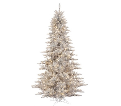 "Holiday Dorm Room Decorations 3'x25"" Silver Fir Tree with Clear Mini Dorm Lights on Grey Wire"