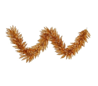 "9'x14"" Copper Garland with Clear Mini Lights on Yellow Wire Holiday Dorm Room Decor College Supplies"