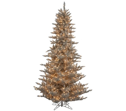 "Holiday Dorm Room Decorations 3'x25"" Grey Fir Tree with Clear Mini Lights on Grey Wire"