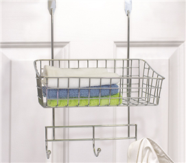 3-Hook Over The Door Basket Rack - Chrome