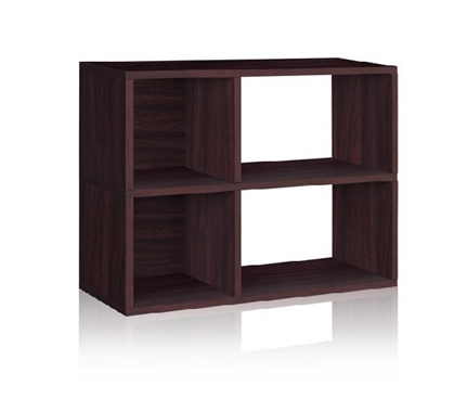 2 Shelf Dorm Storage Bookcase Espresso - Way Basics Dorm Storage Solutions