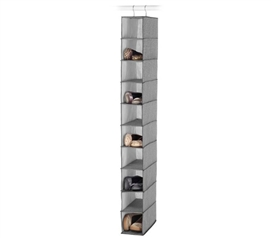Crosshatch Gray Shoe Organizer - 10 Shelves Dorm Storage Solutions Must Have Dorm Items