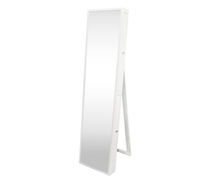 College-Ave Full-Length Mirror with Jewelry Slide Outs - White Extra-Tall Dorm Organization