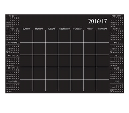 Black Academic Calendar Wall Art - Peel N Stick Dorm Room Decorations College Supplies
