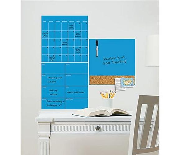 neon blue 3 piece combo wall art peel n stick. Black Bedroom Furniture Sets. Home Design Ideas