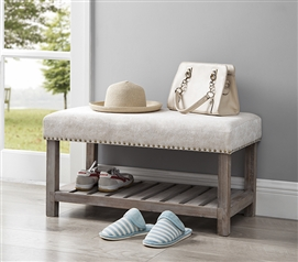 Central Style® Cushion Bench - Farmhouse Wood with Marble Natural Cushion - Compact