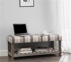 Central Style® Cushion Bench - Farmhouse Wood with Shabby Chic Multi Stripe Cushion - Extended