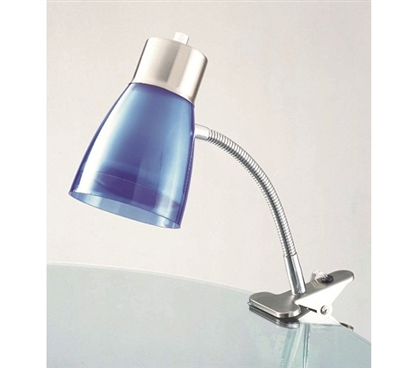 Adds Color And Light - Aglow Dorm Clip Lamp - Blue - Desk Lamp For College Students