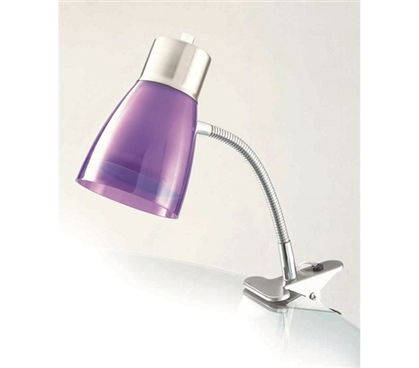 College Supplies Aglow Dorm Clip Lamp - Purple Dorm Items