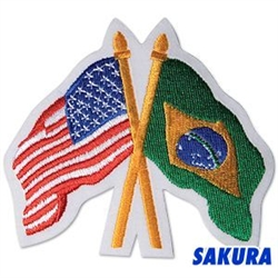 Martial Arts Accessories Patch USA Brazil Flags Crossed