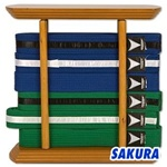 Martial Arts Accessories Rank Belt Display Six Wood Torii