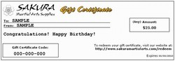 Martial Arts Gift Certificates Gift Cards Christmas Presents