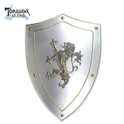 Medieval shield Classic cast metal medieval shield with the Royal Lion coat of arms
