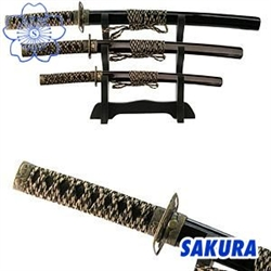 Martial Arts Novelties Black Four Piece Samurai Letter Opener Set With Display Stand