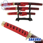 Martial Arts Novelties 4 Piece Red Samurai Letter Opener Display Set