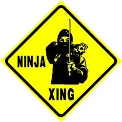 Martial Arts Novelties Parking Sign Ninja Crossing