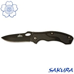 Martial Arts Weapons Knife All Black Textured Grip Stainless Steel Locking Blade