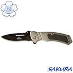Martial Arts Weapons Knife black and silver stainless steel non-serrated edge folding locking blade pocket knife with brushed aluminum grip
