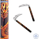 Martial Arts Weapons Kama Sickle Graphite Dragon With Vented Chrome Blades