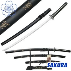 Martial Arts Weapons Sword Samurai Kanji 4 piece set includes stand