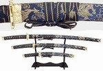 Martial Arts Weapons Sword Samurai Blue Gold Set