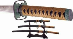 Martial Arts Weapons Sword Samurai Bronze Look Set