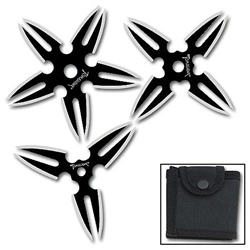 Martial Arts Weapons Shuriken Warrior Throwing Star Set With Case