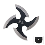 Martial Arts Weapons Shuriken Ninja Throwing Star Black Ronin With Case