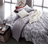 Tavian King Duvet Cover Faded Espresso Light Stone Gray Oversized King XL Bedding