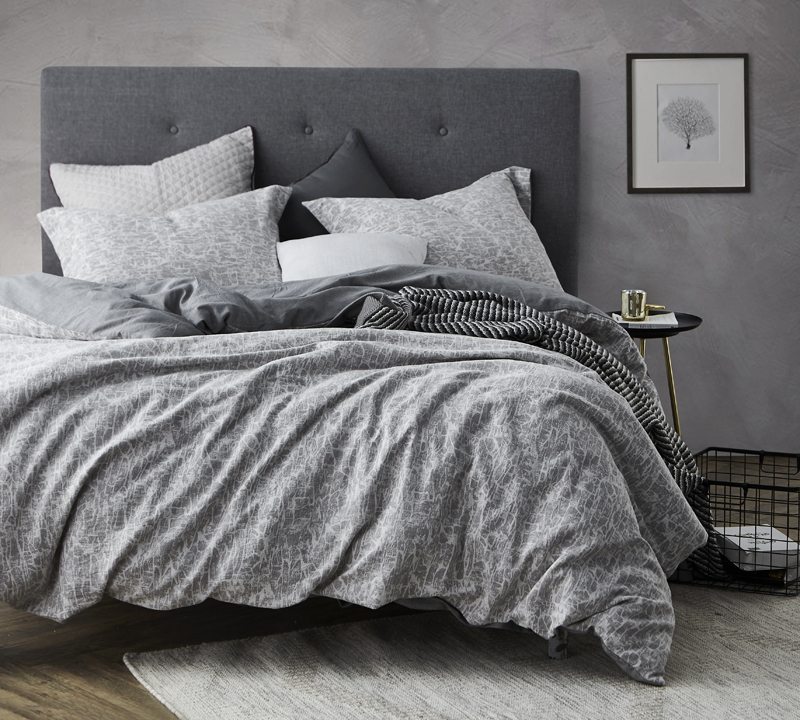 Stylish King Xl Duvet Cover Gray Cracked Earth Comfortable