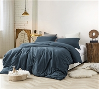 Soft and Extra Thick Natural Loft Oversized Twin XL, Queen, or King Comforter Stylish Nightfall Navy Blue Cozy Bedding
