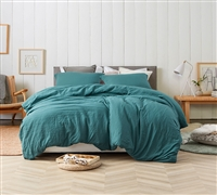 Machine Washable Oversized Queen Comforter One of a Kind Ocean Depths Teal Natural Loft Soft Queen Bedding