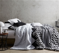 King Bedding Black White and Gray Oversized King XL Bedspread Chevron Peaks Design