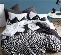 Black White and Gray Oversized Queen XL Duvet Cover Chevron Peaks Design