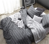 Comfortable Queen XL Bedding Black Faded Stripes Design Unique Oversized Queen Comforter