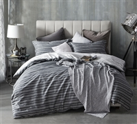 Faded Black King XL Bedding Decor Stylish Faded Stripes Design Oversized King Duvet Cover