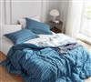 Blue King XL Bedding Decor Comfortable Oversized King Comforter Unique Faded Stripes Design