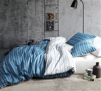Stylish King XL Duvet Cover Blue Oversized King Bedding Unique Faded Stripes Design