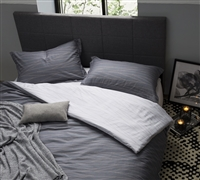 Modern King XL Duvet Cover Stylish Fracture Design Gray King Oversize Bedding Decor