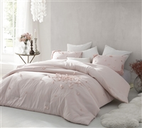 Ice Pink comforter set King XL sized - Petals Handsewn King Comforter Soft Ice Pink